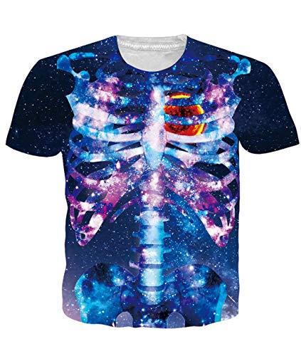 Idgreatim Frauen Herren Halloween t Shirt 3D Printed Tintenfisch Kurzarm T-Shirt für Jungen