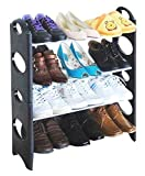 #10: Cmerchants Shoe Organizer Open 4 Layer Portable Shoe Rack(Multipurpose Black)