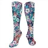 RIPO Calcetines para mujer, hombre, niña, encantadores calcetines hawaianos con diseño de flor, aumenta el rendimiento de la recuperación de la circulación sanguínea