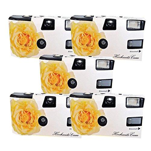 5x boda Cámara/cámara desechable PHOTO PORST 'crema amarillas de bodas Rose (con flash luz y pilas, por 27 fotos, ISO 400 Fuji)