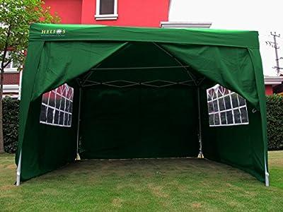 Helios Deluxe - Gartenpavillon mit 4 Seitenteilen - 3x3 m - wasserdicht - mit Windschutz - Grün von Helios auf Du und dein Garten