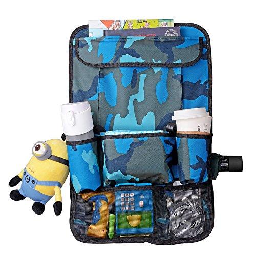 YOEEKU Geräumiges Auto Rückenlehnenschutz,Rücksitzschutz,Rücksitztasche,Rücksitz Organizer für Kinder,Reiseutensilien und Spielzeug (Camouflage Blau)