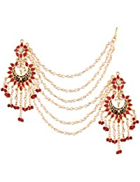 I Jewels High Gold Plated Earrings With Hair Chain For Women (E2444M)