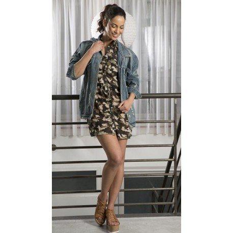 Ideal Shoes - Tunique cintrée imprimée Flavie Blanc