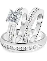Silvernshine 1.50 Ct Princess Cut Diamond 14k White Gold Fn .925 Bride & Groom Set Trio Ring