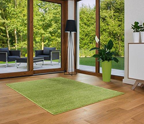 Designer Teppich Friese Einfarbig Modern Verschiedene Größen Grün