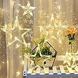 LED Lichterkette Sterne 138pcs Mini LED-Licht & 12 Stück Sterne Licht Batterienbetriebene für Party, Garten, Weihnachten, Halloween, Hochzeit, Beleuchtung Deko usw. (Gelb)