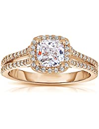 Silvernshine 1.37 Cttw White Cushion Cut CZ Diamond 14k Rose Gold Over Wedding Ring