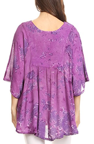 Sakkas cleeo lange, breite Krawatten-Spitze gestickte Sequin Poncho Bluse Top Cover Up Lila