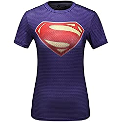 Cody lundin® Mujer compresión Camiseta Yoga Deporte Fitness Camisa de manga corta The Superman Logo Tight Camiseta, color - Superman C, tamaño M