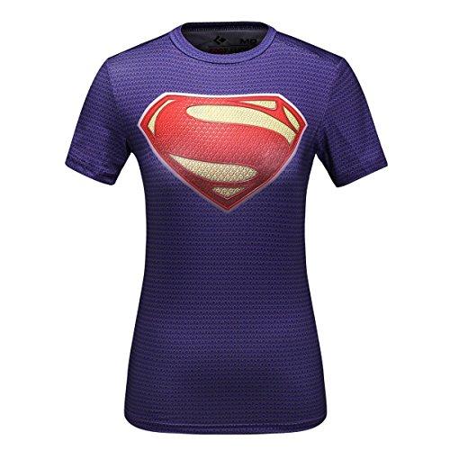 Cody Lundin® T-Shirt manches courtes Femme Super Héros, Sport Fitness Running Yoga Danse Shirt Womens Tees