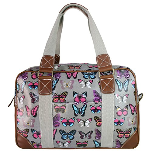 Miss Lulu Damen Wachstuch Handtasche Schultertasche Tasche Handbag Shoulder Bag Gepunktet Eule Blumen Schmetterling Hund Katzen Schmetterling Grau