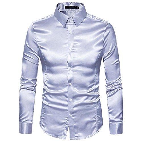 Subfamily top uomo,moda personalità uomo casuale sottile camicia a maniche lunghe top camicetta(argento,xxl)