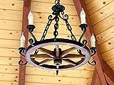 Holzrad Hängelampe Wagenrad Kutsche Deckenlampe Antik Deko Hotel Gaststätte 505S