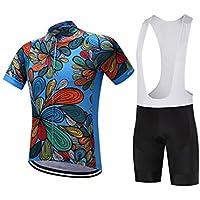 Pantalones de ciclismo Pantalones de montar en bic Deportes de los hombres al aire libre Mountain Bike de manga corta transpirable ciclismo Jersey blanco Bib M ( Color : White Bib , tamaño : M )