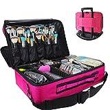 Travelmall Profi-Kosmetikkoffer für die Reise, dreischichtig, 41,9 x 31 x 14 cm, Schultergurt verstellbar, für Make-up-Pinsel, Styling-Tools, Maniküre-Zubehör usw., passt auf Rollkoffer rot Medium