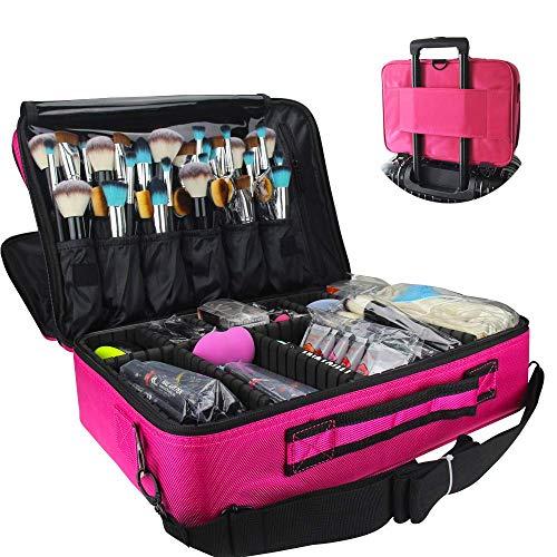 Travelmall Profi-Kosmetikkoffer für die Reise, dreischichtig, 41,9 x 31 x 14 cm, Schultergurt verstellbar, für Make-up-Pinsel, Styling-Tools, Maniküre-Zubehör usw., passt auf Rollkoffer rot Medium -