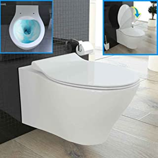 Wall-Mount Toilet Flush Rimless with WC Seat with Soft Close Quick Release Function Ceramic Wall Mounted Toilet
