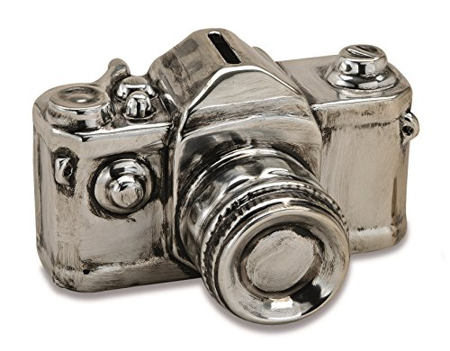 Spardose Bildkamera 16 cm x 12 cm Keramik Foto Kamera Sparschwein Silber