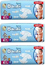 Sanita Bambi Baby Diaper Giant Pack, Large/8-16 kg, 3 x 50 Pieces.