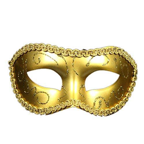Preisvergleich Produktbild Elenxs Flache umgebende Rand-Masken-Maskerade-Halloween-halbe Gesichts-Partei-Maske der Männer Gold