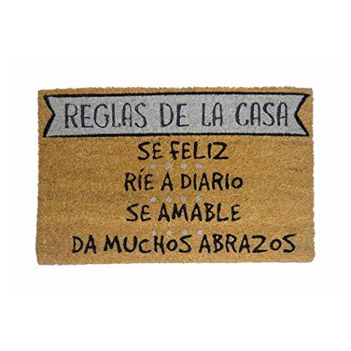 koko doormats Felpudo Reglas de la Casa Oscuro-Grey, PVC, Coco, 40 x 6