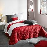 Douceur d 'Interieur 220x 240cm, microfibra teñida Candy colcha, Rouge rojo