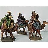 Figurines Creche 3 Mages À Dos De Chameau Santons Pour Crèche De Noël 15cm