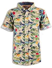 4cafcfe7 Minimico Boys Cotton Tropical Flower Print in Knitted Jersey Short Sleeve  Shirt Beige