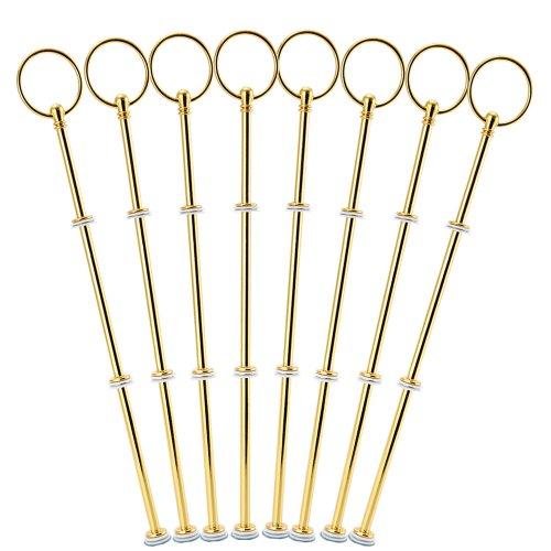Surepromise 8 Sets Metallstange Gold Silber Mittellochausstech 2 bis 3 Etagere Etage f. Torten Hochzeitstorte Tortenständer (Gold)