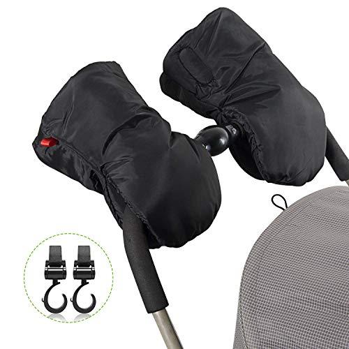 Kinderwagen Handwärmer - Uiter Kinderwagen-Handschuhe mit 2 Haken Extra-Dicke Warme Wasserdichte Frostschutz-Handwärmer für Eltern und Betreuer, Kinderwagen-Zubehör (Schwarz)