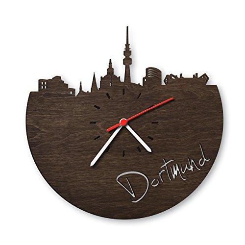 Skyline Dortmund Wanduhr aus Eichen-Holz geräuchert Made in Germany | Design Uhr aus Echtholz | Wand-Deko aus Eiche geräuchert | Originelle Wand-Uhr | Moderne Wand-Uhr im Skyline Design | Wand-Dekoration aus Natur-Holz (Designer-wand-uhr)