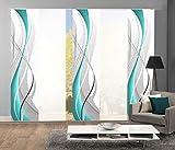 Home Fashion 95150 Flächenvorhänge 5er-Set WUXI, in beere, grau und petrol, Flächenvorhang CARLISLE + Uni-Flächenvorhang ROM (petrol)