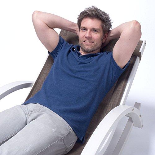 Relax Schaukelstuhl Rio   100% wetterfeste Gartenliege   Relaxliege mit Armlehnen   Gartenmöbel aus Holz weiß gestrichen   Stuhl Bespannung braun - 3