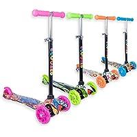 Staro - Patinete con ruedas y luz LED de altura ajustable para niños de 2 a 10 años, Pink with drawings, 3-5 years old