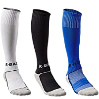 3 Pairs Boys Cushioned Support Football Socks Kids Non Slip Long Compression Sock High Elastic Breathable Soccer Hockey Tube Running Sports Socks for Children 8-13 Years Old
