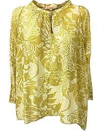 35f3bf7a30 LA FEE MARABOUTEE Blusa Donna Seta/Cotone Mostarda/Ecru MOD FB3515 Made in  Italy