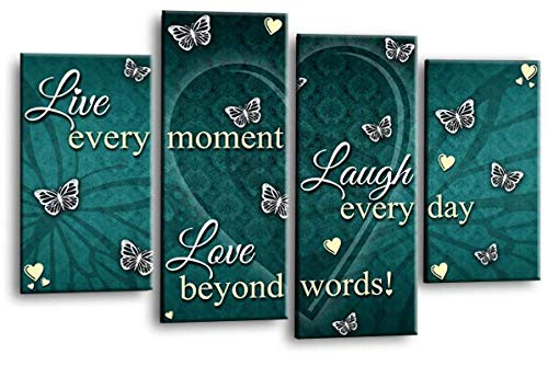 Live Love Laugh Zitat Kunst Bild Blaugrün Creme Grau Herz Wand Leinwand Split Panel Print - Teal Grau-wand-kunst