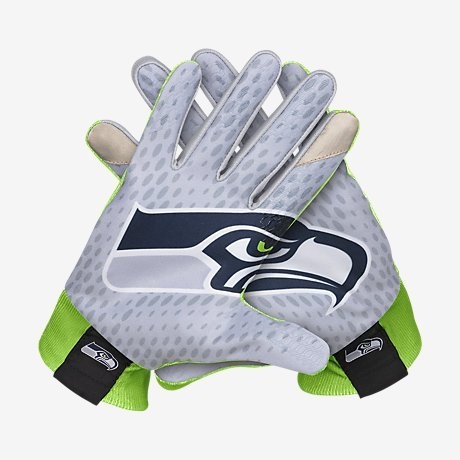 Nike Stadium-Seahawks American Football Handschuhe, Unisex Erwachsene S Grau / (dk Grey Heather/Action Green/White)