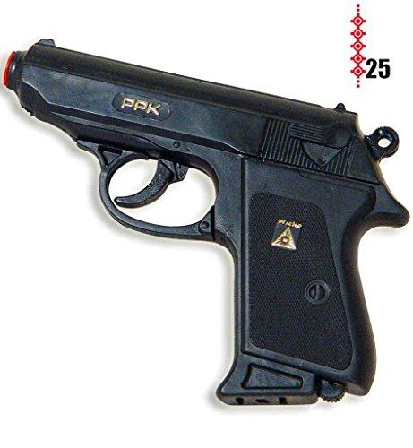 KarnevalsTeufel Pistole Polizei, Spielzeugpistole, Kinderspielzeug, Plastikpistole, Rollenspiel, Polizist, Räuber und Gendarm(25er-Streifen Munition), ca. 15 cm Länge -