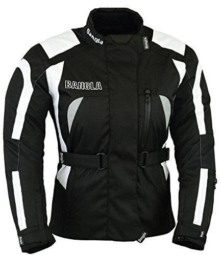 Ledershop-online Bangla Damen Motorradjacke Textil Motorrad Tourenjacke B-08 Schwarz weiss XXL