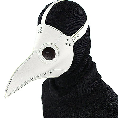 PU Leather Mask Plague Doctor Mask Halloween Props Leather Mask Costume Plague Bird Doctor Nose Cosplay Mask for Adult-White