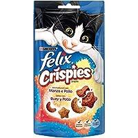 Purina Felix Party Mix Crispies Snacks para Gato Buey y Pollo - Pack de 8 x 45 g - Total 360 g