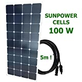 Panel solar mono 100W 12V SUNPOWER cable 5m