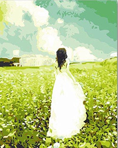 cht] Malen nach Zahlen Neuerscheinungen Neuheiten - DIY Gemälde durch Zahlen, Malen nach Zahlen Kits - Das Wolke Engel Weiß Kleid Mädchen 16 * 20 Zoll - digitales Ölgemälde Segeltuch Wand Kunst Grafik für Heim Wohnzimmer Büro Decor Decorations Geschenke - DIY Farbe durch Zahl DIY Segeltuch-Kit für Erweiterte Erwachsene Kinder Senioren Junior - Neue Ankunfts (Weiß Engel Kleid)