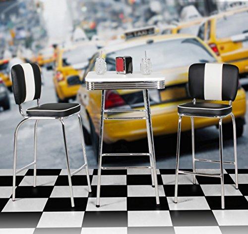FineBuy KING - American Diner Bartisch 60 x 60 x 100 cm quadratisch aus MDF / Aluminium   Retro Stehtisch USA in Weiß / Silber   Robuster Bistrotisch im Stil der 50er Jahre   Party Bar Möbel Tisch mit Untergestell aus verchromtem Alu - 3