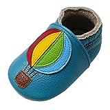 Yalion Baby Weiche Leder Lauflernschuhe Krabbelschuhe Hausschuhe Lederpuschen mit Heißluftballon (0-6 Monate, Himmelblau)