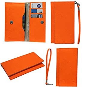 Jo Jo A5 G8 Leather Wallet Universal Pouch Cover Case For Samsung Galaxy Y S5360 Orange