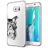 Samsung Galaxy S7 Edge Hülle, Alsoar Galaxy S7 Edge Schutzhülle, [Ultradünn] Weiche Soft Slim Transparent Handyhülle Silikon TPU Stoßfest Kratzfest Mädchen Kaktus für Samsung S7 Edge (Wolfskopf)