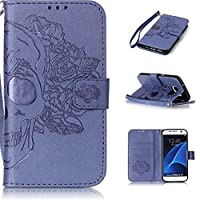 Galaxy S7 Case, KKEIKO® Galaxy S7 Wallet Case [with Free Tempered Glass Screen Protector], Premium PU Leather Flip Cover with Card Slots, Hand Strap and Kickstand, Wallet Book Style Holster Case for Samsung Galaxy S7 (Blue)